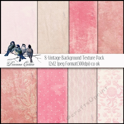 Background Vintage Paper Digital Card Stock12x12 Pink Pack