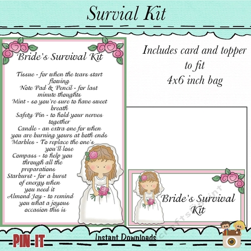 image regarding Printable Survival Cards named Brides Survival Package