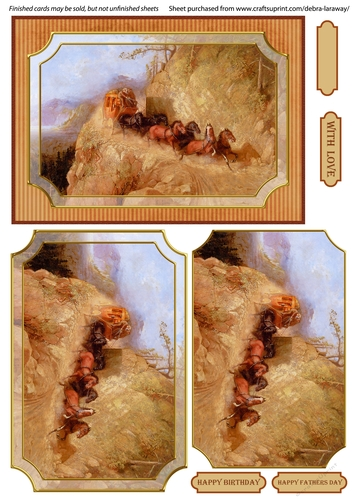 Stagecoach 1 Western Cowboy Horses Fathers Day Mens Birthday Cards