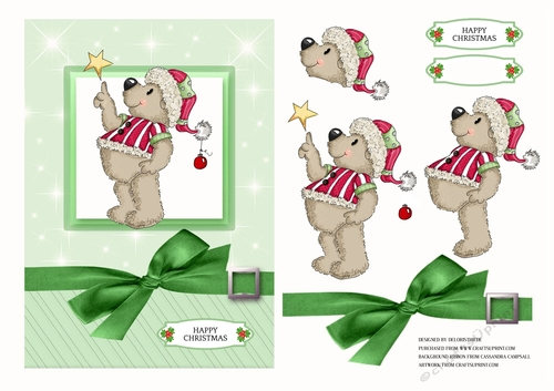 Teddy Couple Christmas Decoupage 1 x A4 Sheet