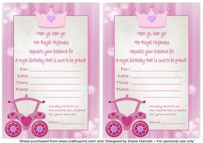 Princess Birthday Invitation CUP Craftsuprint - Princess birthday invitation templates free