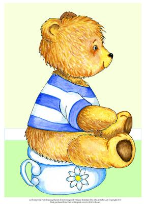 A4 Teddy Bear Potty Training Nursery Poster Cup152818