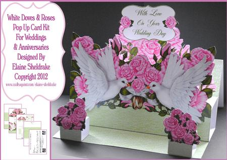 White doves pink roses d pop up wedding or anniversary card