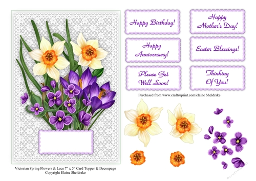 Spring Daffodil Flowers 3D Decoupage Sheet Card Making Crafts CUTTING REQ
