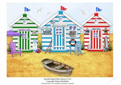 """Photograph 6x4/"""" Cute Colourful Beach Huts Seaside Holiday Art 15x10cm #8821"""