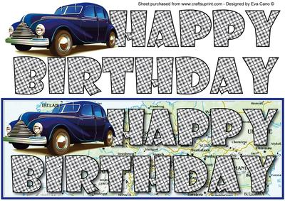 Happy Birthday With Blue Vintage Car Large Dl