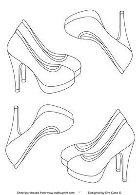 High heels digital stamp cup95302 750 craftsuprint for High heel shoe template craft