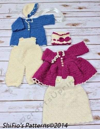 Crochet Pattern Winter Matinee Jacket Baby Dress 2 Jackets