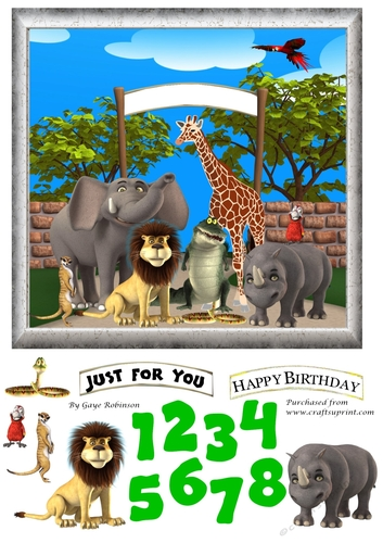 Age Card 1 9 Zoo Animals Cup854450 3656 Craftsuprint