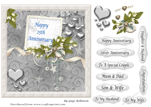 5 To My HUSBAND WIFE ON ANNIVERSARY Greeting Card Crafts Sentiment Banner Tags