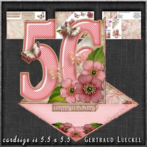 vintage easel 56th anniversary birthday 56 card kit 1178