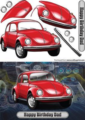 happy birthday dad volkswagen beetle classic car red cup craftsuprint