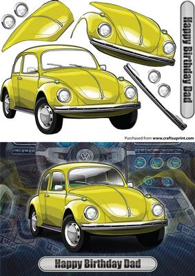 happy birthday dad volkswagen beetle classic car yellow cup591205 971 craftsuprint. Black Bedroom Furniture Sets. Home Design Ideas