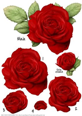 Red Rose Decoupage Sheet
