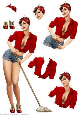1950 39 s pin up girl alice may decoupage sheet red cup431938 437 craftsuprint. Black Bedroom Furniture Sets. Home Design Ideas