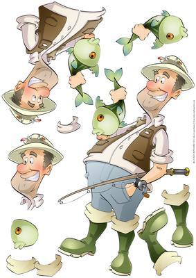 Fishing Dude Big Fish Decoupage Sheet Cup496267 437