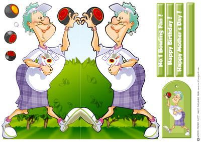 Lawn Bowls Lady Shaped Card. - CUP53228_437 | Craftsuprint