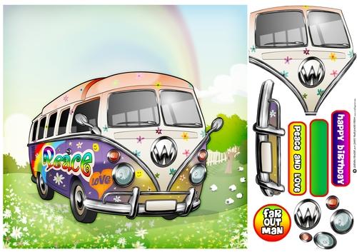 Camper Van Hippy 8x8 Quick Card