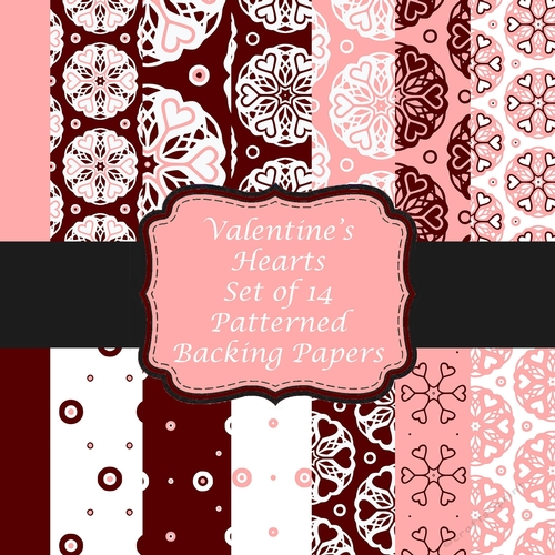 LOVE HEART 12 x A4 sheet Backing Papers for Crafting Cards Scrapbooking