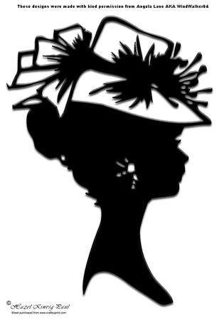 10 BLACK SILHOUETTE LADIES WITH GLASS FOR CARDS//TOPPERS