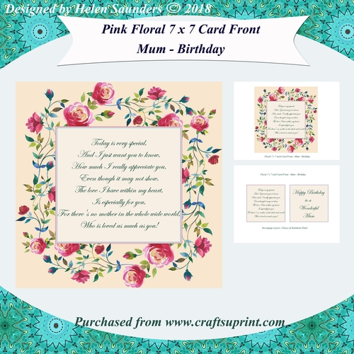 Pink Floral 7 X 7 Inch Card Front With Optional Verse Or Sentiment