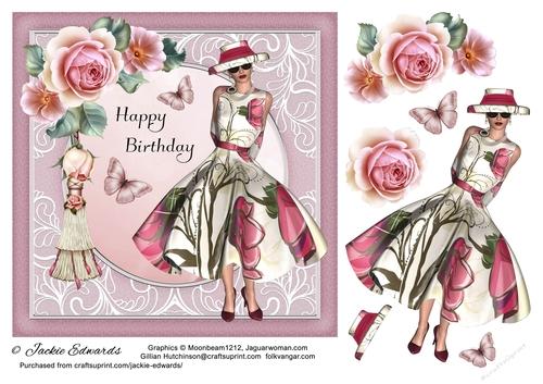 1950/'s Lady With Flowers /& Tassel Decoupage 1 x A4 Sheet