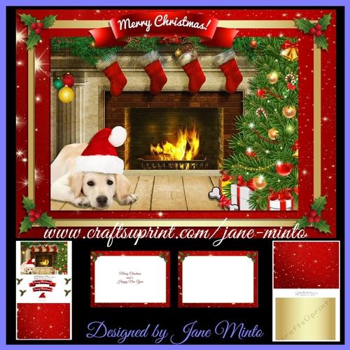 CHRISTMAS FIREPLACE WITH DOG   MINI KIT   CUP786009_57683 Craftsuprint
