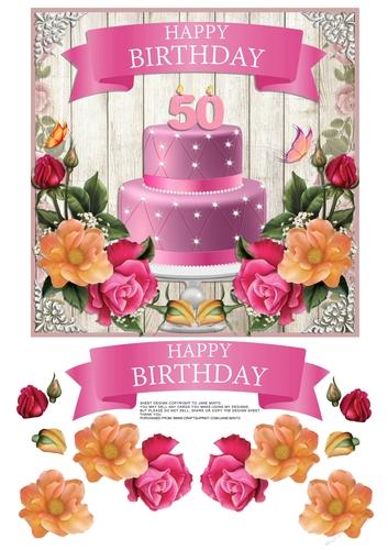 Peachy 50Th Birthday Cake Flowers Cup798466 57683 Craftsuprint Personalised Birthday Cards Veneteletsinfo
