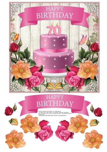 Pleasing 70Th Birthday Cake Flowers Cup799373 57683 Craftsuprint Funny Birthday Cards Online Kookostrdamsfinfo