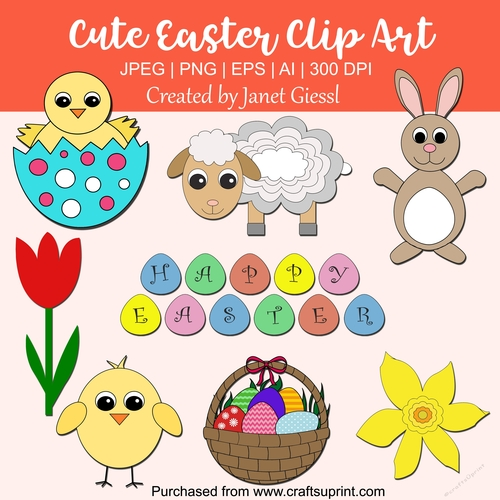 Cute Easter Clip Art - Set of 8 - CUP779192_70151 ...