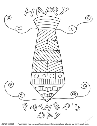 Fathers Day Tie Coloring Page/Digi Stamp - CUP788559_70151 ...