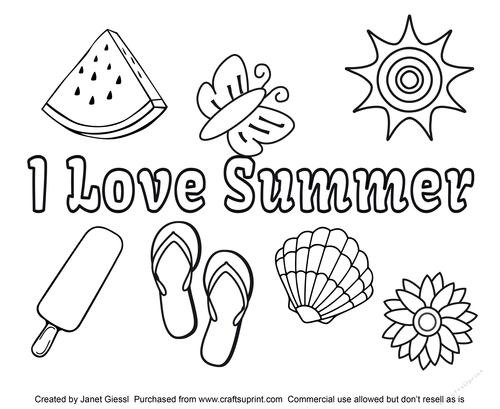 I Love Summer Coloring Page Digi Stamp