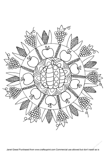 Thanksgiving Mandala Coloring Page/Digi Stamp - CUP822657 ...