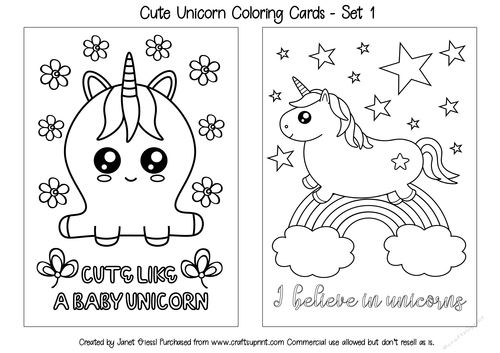 - Cute Unicorn Coloring Cards - Set 1 - CUP909482_70151 Craftsuprint