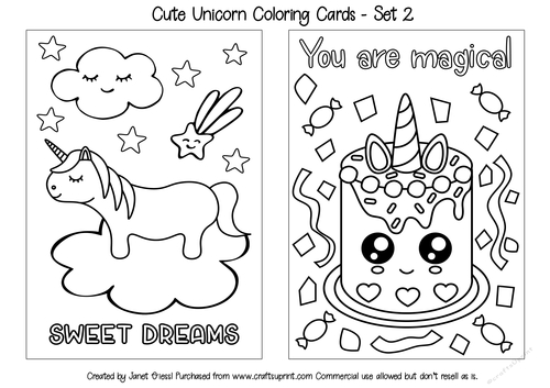 Cute Unicorn Coloring Cards - Set 2 - CUP909483_70151 ...