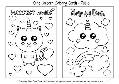 - Cute Unicorn Coloring Cards - Set 3 - CUP909484_70151 Craftsuprint