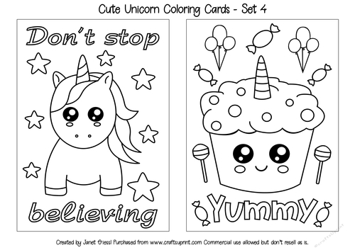 - Cute Unicorn Coloring Cards - Set 4 - CUP909485_70151 Craftsuprint
