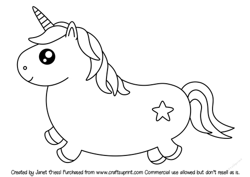 Cute Fat Unicorn Pages Coloring Pages