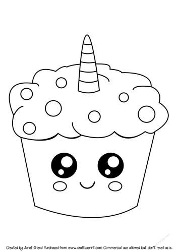 Cute Unicorn Cupcake Digi Stamp