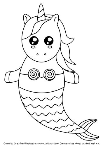It is a picture of Juicy Unicorn And Mermaid Coloring Pages