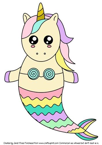 Unicorn Mermaid Coloring Pictures