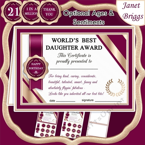WORLDS BEST DAUGHTER Humorous A5 Certificate & Ages Card