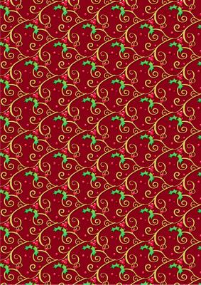 Holly Flourish On Red Christmas Background Paper Cup21506368