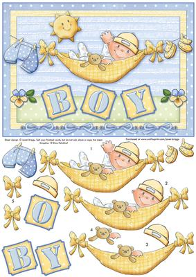 Baby Boy On Washing Line Topper Amp Decoupage Cup350354 68