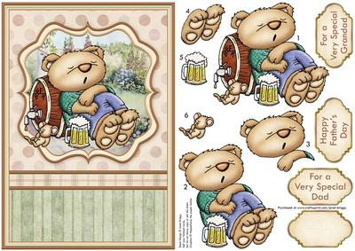 Beer Bear Snoozing Male Birthday Card Topper Decoupage