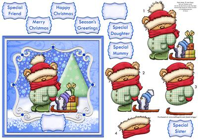 Christmas Toppers For Card Making.Hold My Hand Christmas Card Topper Decoupage