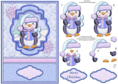 Christmas Toppers For Card Making.Penguin Gift Christmas A5 Card Topper Decoupage