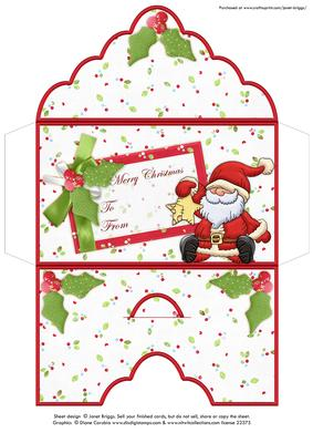 Christmas Money Wallet Envelope Santa U0026 Star
