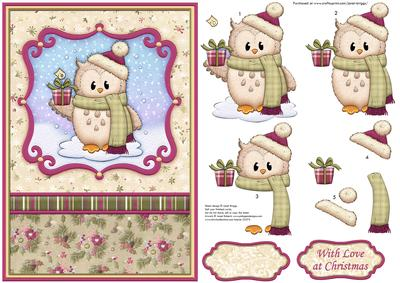 Christmas Toppers For Card Making.Ozzie Owl With Gift Christmas Card Topper Decoupage