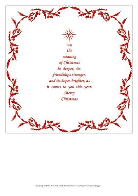 8x8 Christmas Insert & Verse 2 in Red Christmas Tree Shape ...